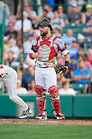 Rochester Red Wings catcher Cameron Rupp (16) during a game against the Lehigh Valley IronPigs on June 29, 2018 at Frontier Field in Rochester, New York.  Lehigh Valley defeated Rochester 2-1.  (Mike Janes/Four Seam Images)