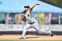 West Virginia Power starting pitcher Steven Moyers (17) delivers a pitch during a game against the Asheville Tourists at McCormick Field on June 2, 2019 in Asheville, North Carolina. The  Power defeated the Tourists 5-4. (Tony Farlow/Four Seam Images)