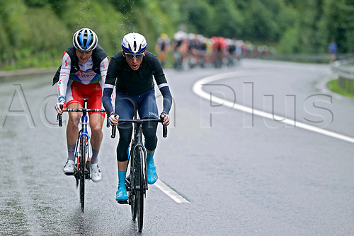4th July 2021; Tignes, France;  MARTIN Daniel (IRL) of ISRAEL START-UP NATION and LATOUR Pierre (FRA) of TOTAL DIRECT ENERGIE during stage 9 of the 108th edition of the 2021 Tour de France cycling race, a stage of 144,9 kms between Cluses and Tignes on July 4