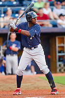 John Mayberry Jr. #15 of the Lehigh Valley IronPigs at bat against the Durham Bulls at Durham Bulls Athletic Park June 26, 2010, in Durham, North Carolina.  Photo by Brian Westerholt / Four Seam Images