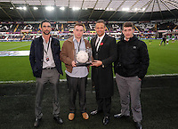 Pictured: Lee Trundle with match ball sponsors. Saturday 25 October 2014<br />