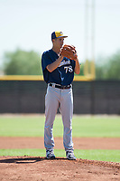 Milwaukee Brewers starting pitcher Max Lazar (78) gets ready to deliver a pitch during an Instructional League game against the San Diego Padres at Peoria Sports Complex on September 21, 2018 in Peoria, Arizona. (Zachary Lucy/Four Seam Images)