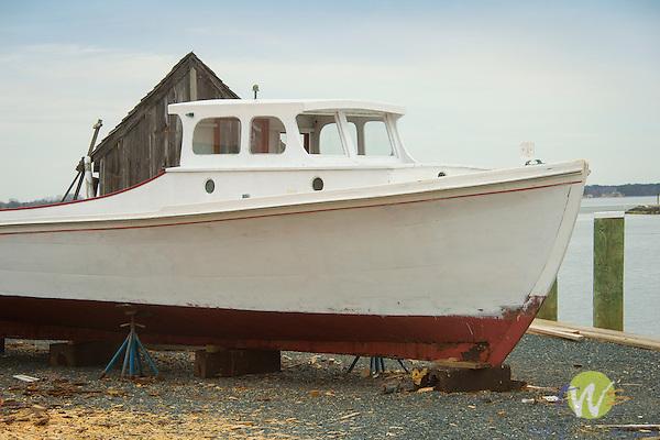 Chesapeake Bay Maritime Museum, St. Michaels, MD. Hooper Island Draketail launch. 1934, Wingate, MD. Eastern Shore.