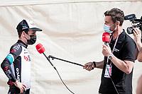 stage winner Simon Yates (GBR/Bike Exchange) interviewed post-race by former pro Bernie Eisel for GCN/Eurosport<br /> <br /> 104th Giro d'Italia 2021 (2.UWT)<br /> Stage 19 from Abbiategrasso to Alpe di Mera (Valsesia)(176km)<br /> <br /> ©kramon