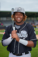 Lansing Lugnuts Vladimir Guerrero Jr. (27) poses for a photo after a game against the Clinton LumberKings on May 9, 2017 at Ashford University Field in Clinton, Iowa.  Lansing defeated Clinton 11-6.  (Mike Janes/Four Seam Images)