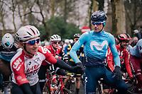 Jürgen Roelandts (BEL/Movistar) greeting his former teammate Jasper De Buyst (BEL/Lotto-Soudal) at the start<br /> <br /> 74th Omloop Het Nieuwsblad 2019 <br /> Gent to Ninove (BEL): 200km<br /> <br /> ©kramon
