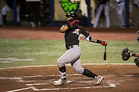 Salem-Keizer Volcanoes catcher Ricardo Genoves (9) follows through on his swing during a Northwest League game against the Hillsboro Hops at Ron Tonkin Field on September 1, 2018 in Hillsboro, Oregon. The Salem-Keizer Volcanoes defeated the Hillsboro Hops by a score of 3-1. (Zachary Lucy/Four Seam Images)