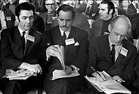 Congres du Parti Quebecois au Patro Roc-Amadour a Quebec , le 26 fevrier 1971 <br /> - Camille Laurin, Jacques Parizeau et Rene Levesque<br /> <br /> <br /> Photographe : Jacques Thibault<br /> - Agence Quebec Presse