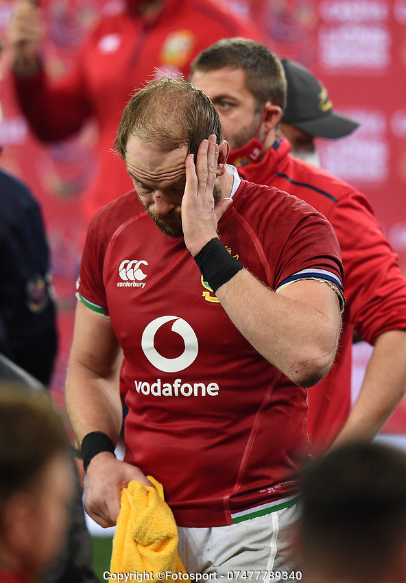 Alun Wyn Jones  - British & Irish Lions captain stands stunned and dejected at the end of the match following a 27-9 defeat to the Springboks in the 2nd Test match.<br /> South Africa v British & Irish Lions, 2nd Test, Cape Town Stadium, Cape Town, South Africa,  Saturday 31st July 2021. <br /> Please credit: FOTOSPORT/DAVID GIBSON