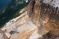 When Iodake erupted, the side of the mountain was blown away, leaving a sulphur-yellow cliff that falls away towards Honzawa, Yatsugatake, Nagano, Japan.