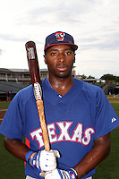 Travis Demeritte #22 of the AZL Rangers before a game against the AZL Royals at Surprise Stadium on July 15, 2013 in Surprise, Arizona. AZL Rangers defeated the AZL Royals, 3-2. (Larry Goren/Four Seam Images)