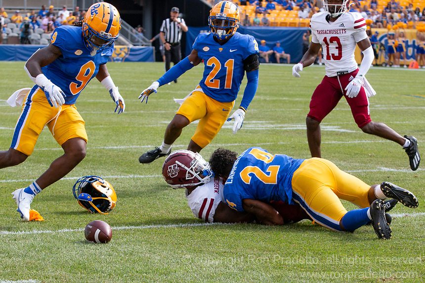 Pitt linebacker Phil Campbell (24) breaks up a pass intended for UMass running back Kay'Ron Adams. The Pitt Panthers defeated the UMass Minutemen 51-7 on September 4, 2021 at Heinz Field, Pittsburgh, PA.