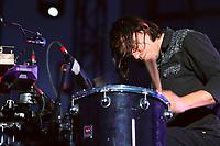 Karkwa band member Julien Sagot performs during a concert at the Festival d'ete de Quebec (Quebec city Summer Festival) on the Plains of Abraham July 19, 2009.