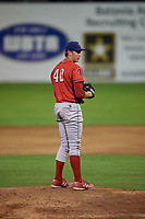 Williamsport Crosscutters relief pitcher Damon Jones (40) gets ready to deliver a pitch during a game against the Batavia Muckdogs on August 3, 2017 at Dwyer Stadium in Batavia, New York.  Williamsport defeated Batavia 2-1.  (Mike Janes/Four Seam Images)
