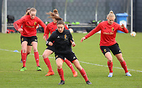 Silke Vanwynsberghe and Ella Van Kerkhoven pictured during the training session of the Belgian Women's National Team ahead of a friendly female soccer game between the national teams of Germany and Belgium , called the Red Flames in a pre - bid tournament called Three Nations One Goal with the national teams from Belgium , The Netherlands and Germany towards a bid for the hosting of the 2027 FIFA Women's World Cup ,on 19th of February 2021 at Proximus Basecamp. PHOTO: SEVIL OKTEM | SPORTPIX.BE