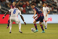 KANSAS CITY, KS - JULY 15: Matthew Hoppe #13 of the United States moves with the ball during a game between Martinique and USMNT at Children's Mercy Park on July 15, 2021 in Kansas City, Kansas.
