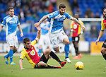 St Johnstone v Partick Thistle…29.10.16..  McDiarmid Park   SPFL<br />Richie Foster skips a challenge by Callum Booth<br />Picture by Graeme Hart.<br />Copyright Perthshire Picture Agency<br />Tel: 01738 623350  Mobile: 07990 594431