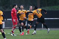 George Porter of Maidstone scores the third goal for his team and celebrates during Hornchurch vs Maidstone United, Buildbase FA Trophy Football at Hornchurch Stadium on 6th February 2021