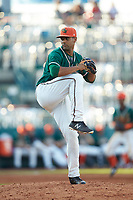 Greensboro Grasshoppers relief pitcher Nestor Bautista (39) in action against the West Virginia Power at First National Bank Field on August 9, 2018 in Greensboro, North Carolina. The Power defeated the Grasshoppers 5-3 in game one of a double-header. (Brian Westerholt/Four Seam Images)
