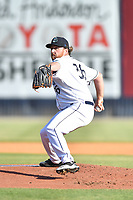 Asheville Tourists starting pitcher R.J. Freure (36) delivers a pitch during a game against the Bowling Green Hot Rods on May 26, 2021 at McCormick Field in Asheville, NC. (Tony Farlow/Four Seam Images)