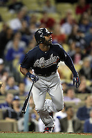 Jason Heyward #22 of the Atlanta Braves bats against the Los Angeles Dodgers at Dodger Stadium on April 24, 2012 in Los Angeles,California. Los Angeles defeated Baltimore 6-3.(Larry Goren/Four Seam Images)