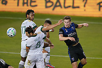 SAN JOSE, CA - SEPTEMBER 19: Tanner Beason #15 of the San Jose Earthquakes goes up for a header during a game between Portland Timbers and San Jose Earthquakes at Earthquakes Stadium on September 19, 2020 in San Jose, California.