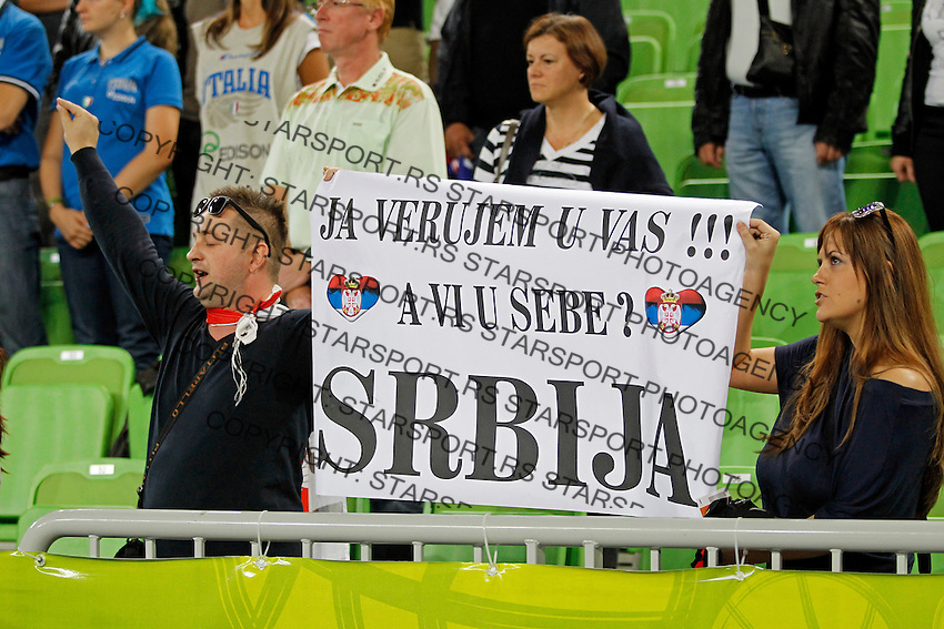 """Serbia`s national basketball team supporters during European basketball championship """"Eurobasket 2013""""  basketball game for 7th place between Serbia and Italy in Stozice Arena in Ljubljana, Slovenia, on September 21. 2013. (credit: Pedja Milosavljevic  / thepedja@gmail.com / +381641260959)"""