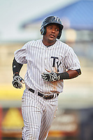 Tampa Yankees third baseman Miguel Andujar (27) runs the bases after hitting a home run during a game against the Bradenton Marauders on April 11, 2016 at George M. Steinbrenner Field in Tampa, Florida.  Tampa defeated Bradenton 5-2.  (Mike Janes/Four Seam Images)