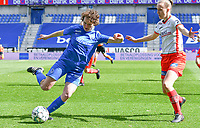 forward Lotte Van Den Steen (15) of KRC Genk and Ella Vierendeels (4) of Zulte-Waregem pictured during a female soccer game between  Racing Genk Ladies and SV Zulte-Waregem on the 18 th and last matchday before the play offs of the 2020 - 2021 season of Belgian Scooore Womens Super League , saturday 27 th of March 2021  in Genk , Belgium . PHOTO SPORTPIX.BE | SPP | JILL DELSAUX