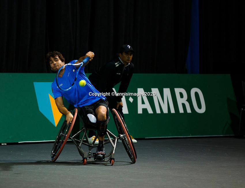Rotterdam, The Netherlands, 11 Februari 2020, ABNAMRO World Tennis Tournament, Ahoy, <br /> Wheelchair tennis: Daniel Caverzaschi (ESP).<br /> Photo: www.tennisimages.com