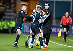Dundee v St Johnstone…29.12.18…   Dens Park    SPFL<br />Martin Woods grapples with Matty Kennedy<br />Picture by Graeme Hart. <br />Copyright Perthshire Picture Agency<br />Tel: 01738 623350  Mobile: 07990 594431