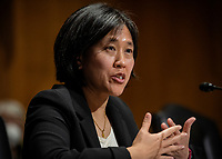 Katherine C. Tai testifies during the United States Senate Finance committee hearings to examine her nomination to be United States Trade Representative, with the rank of Ambassador, in Washington, DC.<br /> Credit: Bill O'Leary / Pool via CNP /MediaPunch