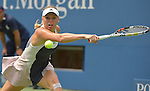 Caroline Wozniacki (DEN) defeats Jamie Loeb (USA)  6-2, 6-0 at the US Open in Flushing, NY on September 1, 2015.