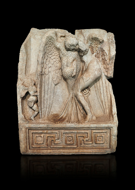 Roman Sebasteion relief  sculpture of Leda and swan, Aphrodisias Museum, Aphrodisias, Turkey.   Against a black background.<br /> <br /> Zeus disguised as a swan assaults Spartan princess Leda. The bird stands on the tips of its outspread wings and presses its webbed foot on the thigh of modest, struggling Leda. The swan is supported from behind a small Eros. From this encounter came a large egg from which were born Helen and the Dionskouroi twins, Kastor and Polydeukes
