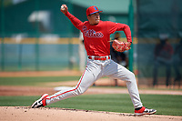 Philadelphia Phillies Francisco Morales (29) during a minor league Spring Training game against the Pittsburgh Pirates on March 13, 2019 at Pirate City in Bradenton, Florida.  (Mike Janes/Four Seam Images)