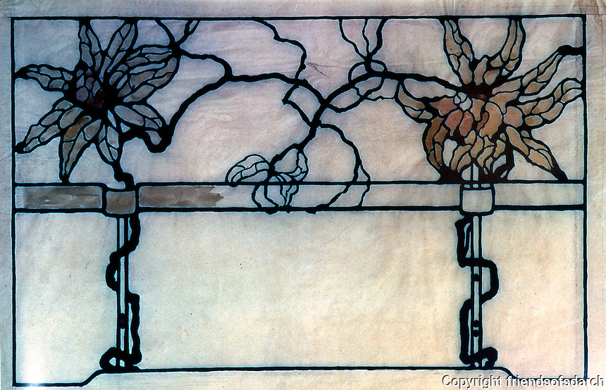 """Greene & Greene: Leaded Art Glass for Earl C. Anthony House.  Full size (25"""")  Detail--ink and wash on tracing paper.  Photo '84."""