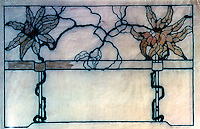 "Greene & Greene: Leaded Art Glass for Earl C. Anthony House.  Full size (25"")  Detail--ink and wash on tracing paper.  Photo '84."