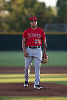 AZL Angels starting pitcher Jose Natera (55) during an Arizona League game against the AZL Giants Black at the San Francisco Giants Training Complex on July 1, 2018 in Scottsdale, Arizona. The AZL Giants Black defeated the AZL Angels by a score of 4-2. (Zachary Lucy/Four Seam Images)