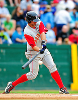 21 August 2010: Brooklyn Cyclones infielder Jeff Flagg in action against the Vermont Lake Monsters at Centennial Field in Burlington, Vermont. The Cyclones defeated the Lake Monsters 8-7 in a 12-inning game that had to be resumed in Brooklyn on August 31 due to late inning rain. Mandatory Credit: Ed Wolfstein Photo