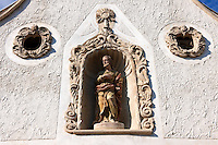 Statues on The two Moors House (Két mór ház).  Rustic Baroque architecture - Sopron, Hungary