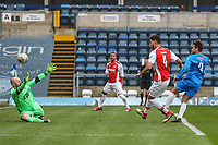 Jake Fowler (4) shoots during the Celebrity football match in aid of the charity's 'Keep Moving Forward' programme which benefits people with mental health issues put together by Wycombe Wanderers Sports & Education Trust and Sellebrity Soccer Football Match at Adams Park, High Wycombe, England on 7 April 2019. Photo by David Horn.