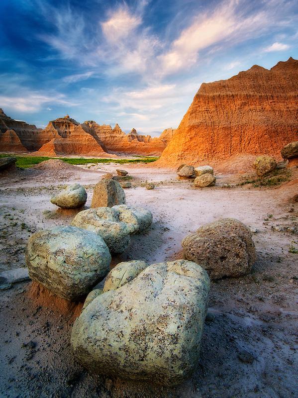 Large boulders and rock formations at sunrise.  Badlands National Park, South Dakota.