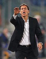 Calcio, Serie A: Roma vs ChievoVerona. Roma, stadio Olimpico, 31 ottobre 2013.<br /> AS Roma coach Rudi Garcia, of France, gestures during the Italian Serie A football match between AS Roma and ChievoVerona at Rome's Olympic stadium, 31 October 2013.<br /> UPDATE IMAGES PRESS/Riccardo De Luca