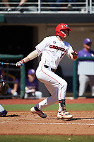 LJ Talley (2) of the Georgia Bulldogs follows through on his swing against the LSU Tigers at Foley Field on March 23, 2019 in Athens, Georgia. The Bulldogs defeated the Tigers 2-0. (Brian Westerholt/Four Seam Images)