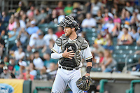Jett Bandy (27) of the Salt Lake Bees during the game against the Fresno Grizzlies in Pacific Coast League action at Smith's Ballpark on June 13, 2015 in Salt Lake City, Utah.  (Stephen Smith/Four Seam Images)