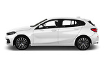Car Driver side profile view of a 2020 BMW 1-Series Sport 5 Door Hatchback Side View