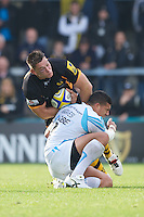 Tom Lindsay of London Wasps charges into Josh Matavesi of Worcester Warriors during the Aviva Premiership match between London Wasps and Worcester Warriors at Adams Park on Sunday 7th October 2012 (Photo by Rob Munro)