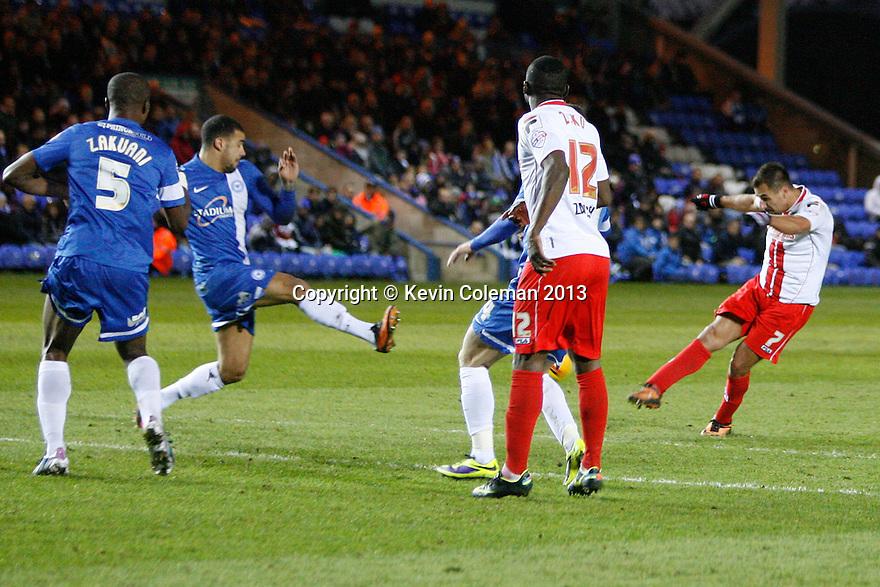 Filipe Morais of Stevenage shoots<br />  - Peterborough United v Stevenage - Sky Bet League One - London Road, Peterborough - 23rd November 2013. <br /> © Kevin Coleman 2013