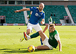 Hibs v St Johnstone…22.09.21  Easter Road.    SPFL<br />Ryan Porteous tackles Chris Kane<br />Picture by Graeme Hart.<br />Copyright Perthshire Picture Agency<br />Tel: 01738 623350  Mobile: 07990 594431
