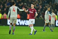 Declan Rice of West Ham United and Virgil van Dijk At the Final Whistle Applause Fan's during West Ham United vs Liverpool, Premier League Football at The London Stadium on 4th February 2019